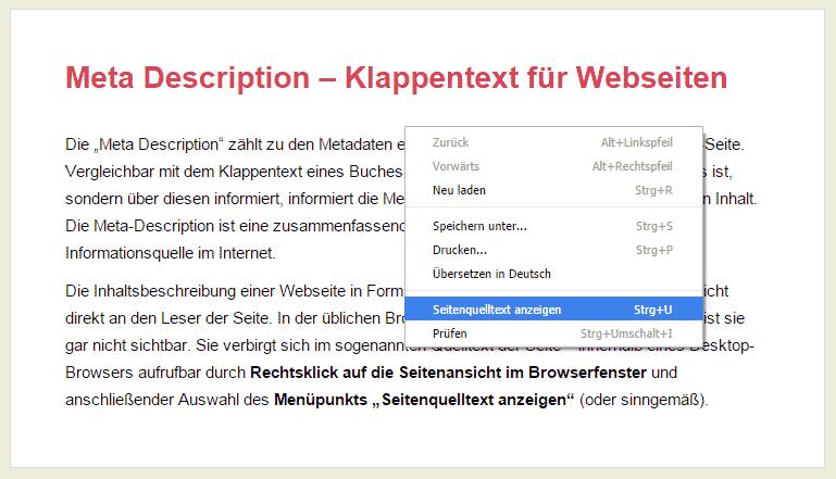 Auswahlmenü im Browser (Crome): Seitenquelltext anzeigen