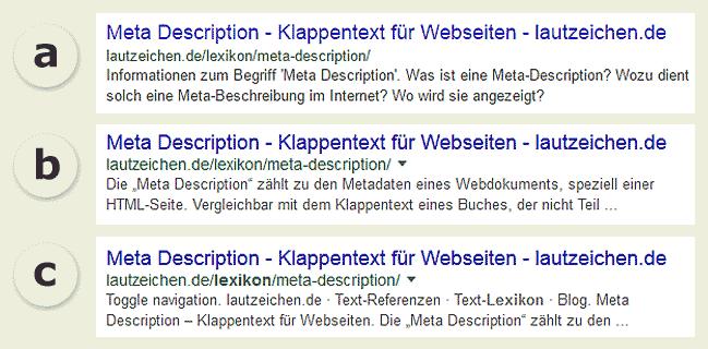 Snippets von Suchmaschinen-Ergebnisseiten