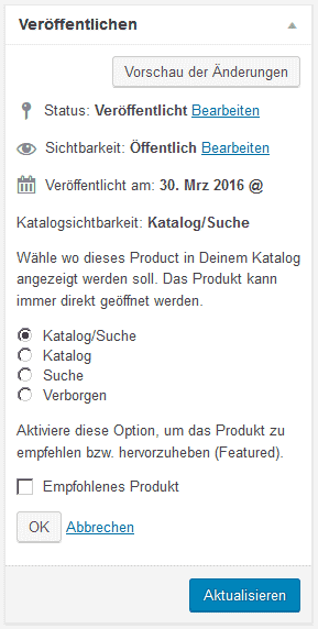 "Option ""empfohlenes Produkt"""
