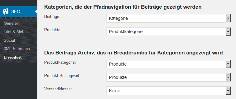 Yoast-Plugin Breadcrumb-Einstellungen