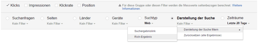 "Google Search Console: Filter ""Rich-Ergebnis"""